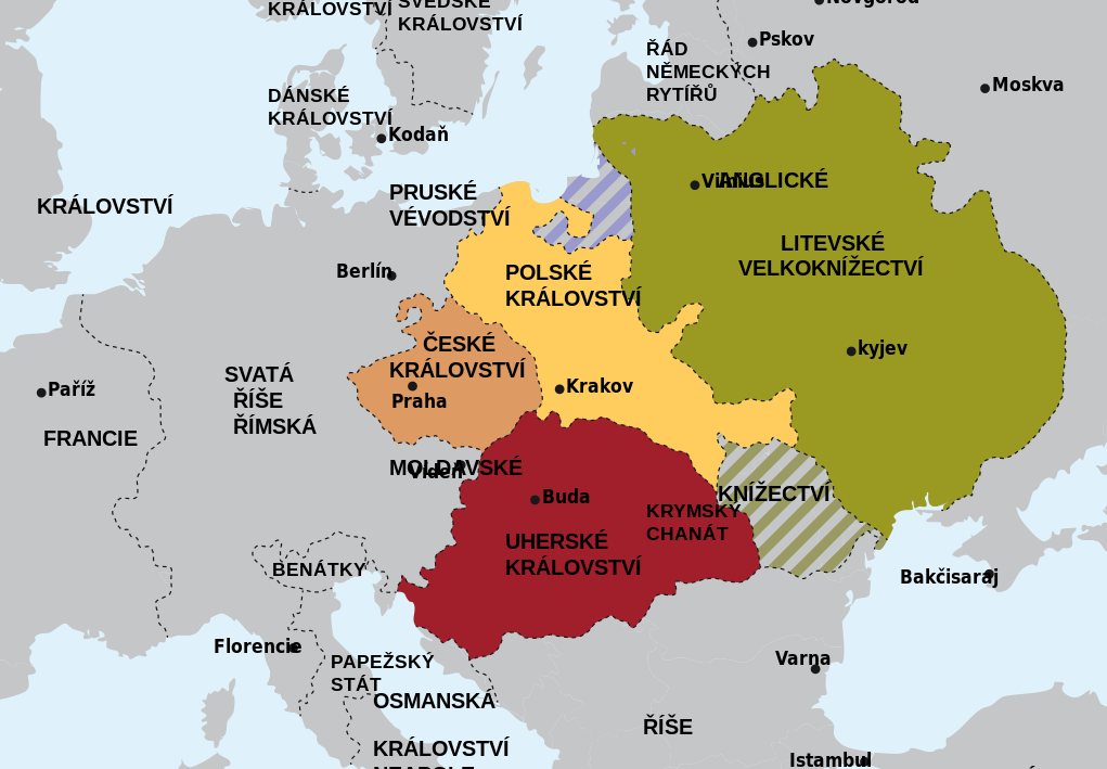 Jagellonica dynasty map