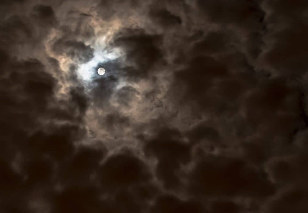Clouds obscuring moon