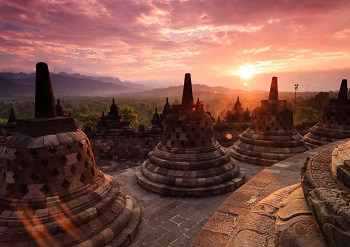Humans of the Sailendra Dynasty in modern-day Indonesia complete Borobudur, the world's largest Buddhist temple