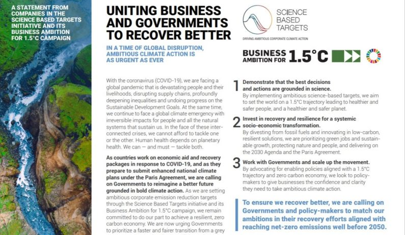 155 companies urge governments to enact net zero emissions recovery from COVID-19