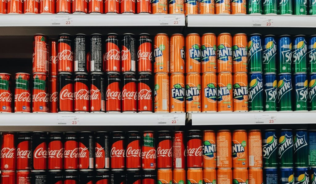 Sodas on the shelf