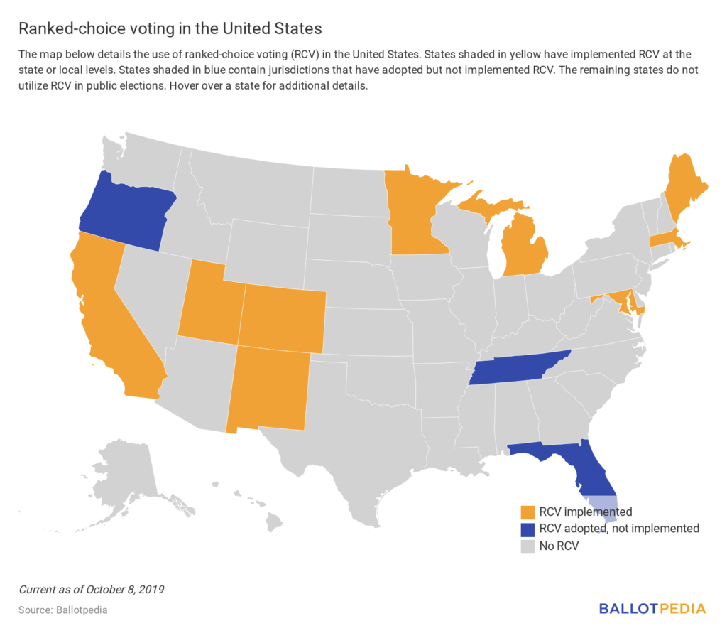 Ranked choice voting map, USA, October 2019