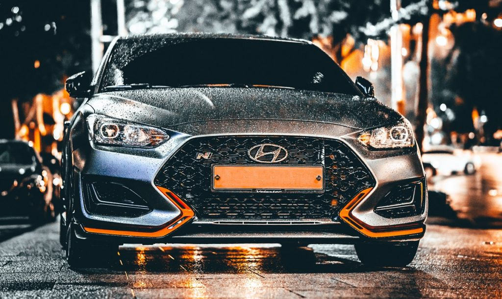 Hyundai car in the rain
