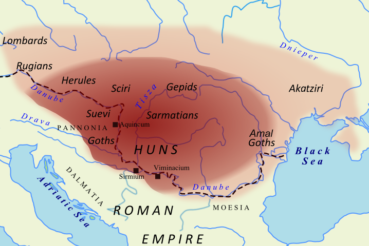 Hunnic Empire map 450 A.D.