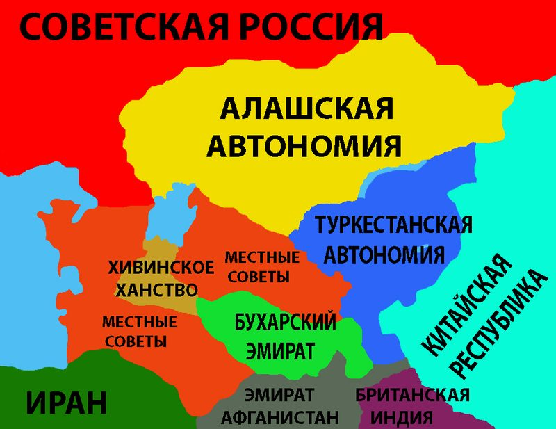Political map of Central Asia in 1918