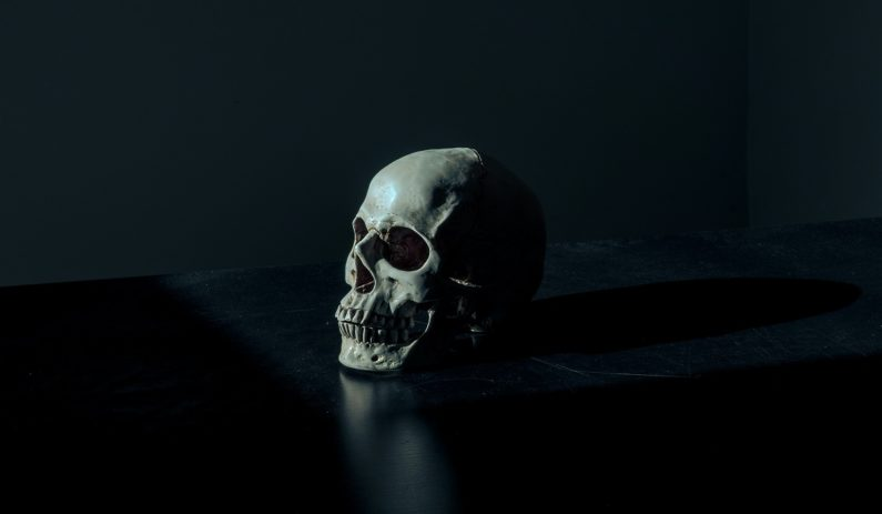 Skull surrounded by darkness