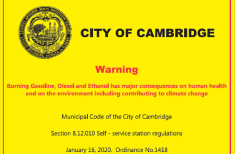 Cambridge, Massachusetts to be first US city to post warning stickers on gas pumps