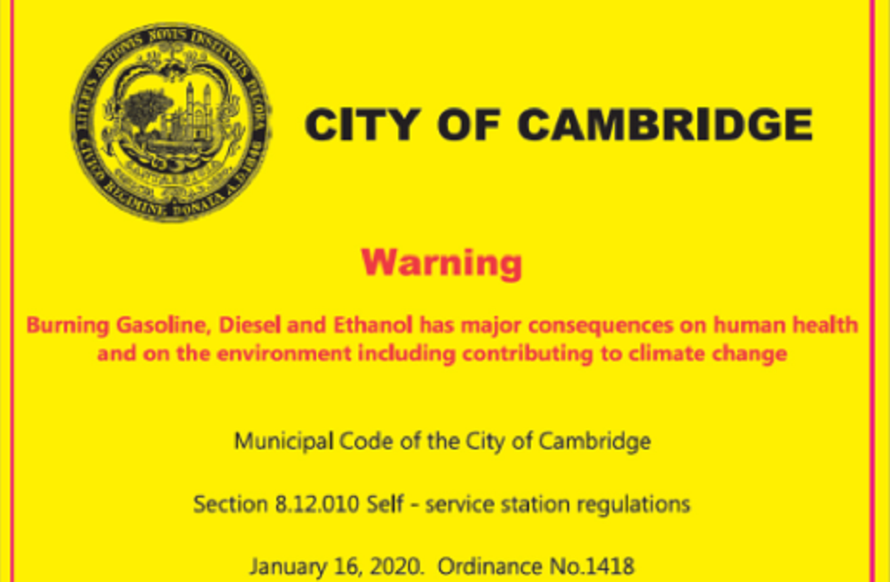 Cambridge gas warning label
