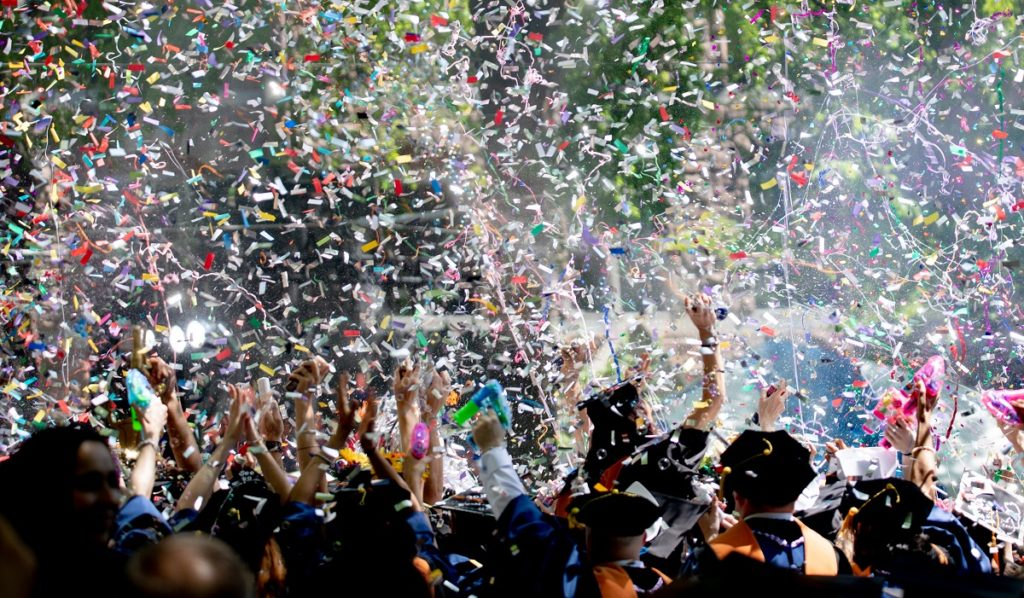 Graduation celebration with confetti