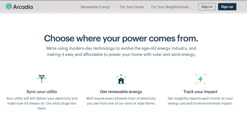 Power your home with renewable energy through Arcadia