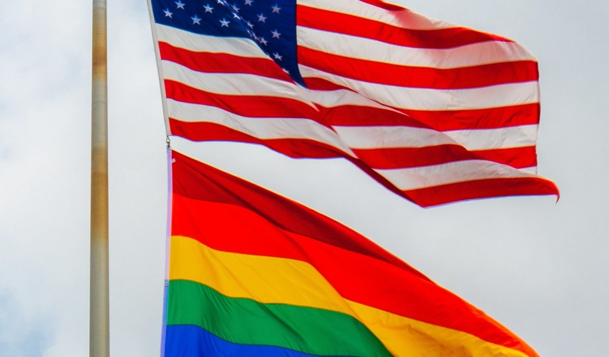 US and Pride flags together
