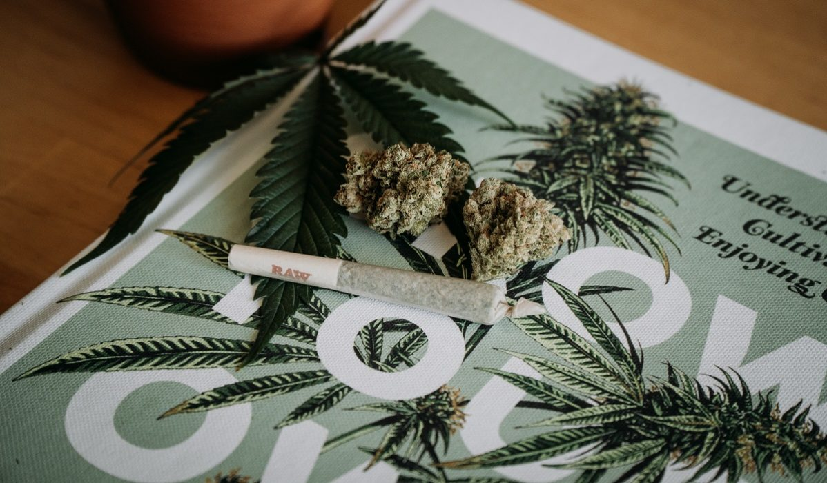 Cannabis nuggets and joint